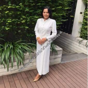 ชุดงานบุญพิกุลรัตน์ ชุดขาว ชุดทำบุญ ชุดงานบวช ชุดงานมงคล ไทยจิตลดา ชุดไทยจิตรดา-สีขาว (ผ้าฮันโกะ)