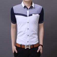 ขาย ซื้อ บุคลิกภาพชายวัยรุ่นผอมแขนสั้นเสื้อแขนสั้นเสื้อเชิ้ต สีขาว ใน ฮ่องกง