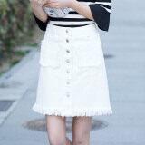 ขาย เก๋กระโปรงคำเวอร์ชั่นเกาหลีกระโปรงผ้ายีนส์สีขาวเอวสูง สีขาว Unbranded Generic ถูก