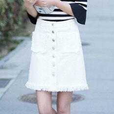 ขาย เก๋กระโปรงคำเวอร์ชั่นเกาหลีกระโปรงผ้ายีนส์สีขาวเอวสูง สีขาว ราคาถูกที่สุด