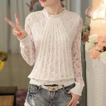 เกาหลีใหม่ยืนปกผอมแขนยาวเสื้อ bottoming เสื้อลูกไม้ (สีขาว)