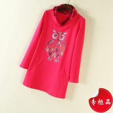 ส่วนลด สินค้า นกฮูกเพชรใหม่พิมพ์กระเป๋าเสื้อกันหนาว ดอกกุหลาบสีแดงเสื้อยืด