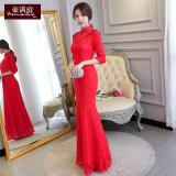 ขาย สีแดงหญิงสลิมแขนยาว Cheongsam ขนมปังปิ้งเสื้อผ้า สีแดง ถูก ฮ่องกง