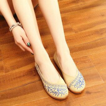 จีนลมเก่าปักกิ่งผ้าลินินแบนแม่รองเท้ารองเท้าผ้า (สีฟ้าใบไผ่เส้นเอ็นที่ปลายหลาบวก)