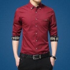 ซื้อ เสื้อเกาหลีเสื้อผู้ชายแขนยาววัยรุ่น เท็จกระเป๋าม่วง Other ออนไลน์