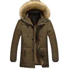 ขาย เสื้อโค้ทผู้ชายกันหนาวติดลบ แต่งเฟอร์ ฮู้ดถอดได้ สีน้ำตาลอมเขียว ผู้ค้าส่ง