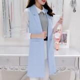 ขาย ซื้อ เสื้อกั๊กเกาหลีเสื้อกั๊กเพศหญิงส่วนยาวนางสาว ท้องฟ้าสีฟ้า