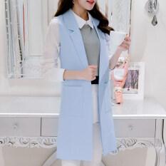 เสื้อกั๊กเกาหลีเสื้อกั๊กเพศหญิงส่วนยาวนางสาว ท้องฟ้าสีฟ้า ฮ่องกง