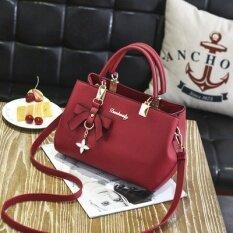 ขาย ซื้อ กระเป๋าถือสะพายข้างผู้หญิง เรียบหรู สไตล์เกาหลี ชานเฟยกระเป๋าถือไวน์แดง ชานเฟยกระเป๋าถือไวน์แดง Thailand