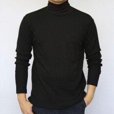 ส่วนลด เสื้อคอเต่าแขนยาวสีดำ Man Collection