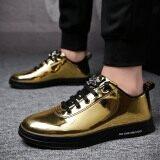 ราคา ลำลองรองเท้าฤดูใบไม้ร่วงใหม่รองเท้าหนังสิทธิบัตรเกาหลี สีทอง ราคาถูกที่สุด