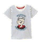 ทบทวน ที่สุด ทารกการ์ตูนผ้าฝ้ายเด็กชายเสื้อยืดสาวเสื้อ สีฟ้าและสีขาวลาย