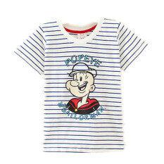 ราคา ทารกการ์ตูนผ้าฝ้ายเด็กชายเสื้อยืดสาวเสื้อ สีฟ้าและสีขาวลาย