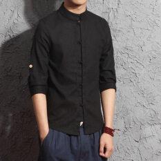 ราคา เสื้อเชิ๊ตชาย แขนยาว 7 ส่วน ผ้าลินิน สไตล์จีน สีดำ สีดำ ที่สุด