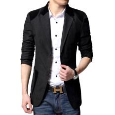 ราคา เสื้อสูทผู้ชายแบบสำสอง ขนาดใหญ่ สไตล์เกาหลี สีดำ สีดำ Unbranded Generic เป็นต้นฉบับ