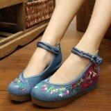 ขาย รองเท้าส้นสูงของผู้หญิง ผ้าเย็บปักถักร้อย พื้นหนา แฟนสีฟ้า แฟนสีฟ้า ราคาถูกที่สุด