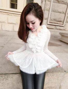 เสื้อลูกไม้ คอวี ทรงสลิม ลายดอกไม้ แขนยาว สไตล์สาวเกาหลี (สีขาว) (สีขาว)