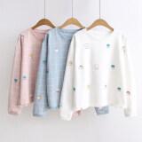 ราคา เรนโบว์ญี่ปุ่นพู่ฤดูใบไม้ร่วงใหม่เสื้อยืด สีชมพูลายสก๊อตเมฆฝอย ราคาถูกที่สุด