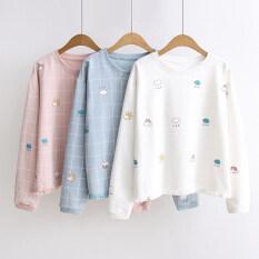 ราคา เรนโบว์ญี่ปุ่นพู่ฤดูใบไม้ร่วงใหม่เสื้อยืด สีชมพูลายสก๊อตเมฆฝอย ใหม่