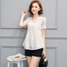 เสื้อลูกไม้เกาหลีผ้าฝ้ายไซส์พิเศษไซส์ใหญ่พิเศษสลิม สีขาว ใหม่ล่าสุด