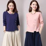 ขาย ลมจีนฝ้ายลมชาติหญิงผอมเสื้อเสื้อยืด สีชมพู Unbranded Generic ออนไลน์
