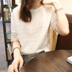 ขาย เกาหลีสุทธิเส้นด้ายสีขาวหญิงเย็บเสื้อชีฟองลูกไม้เสื้อ สีขาวสง่างาม ใหม่