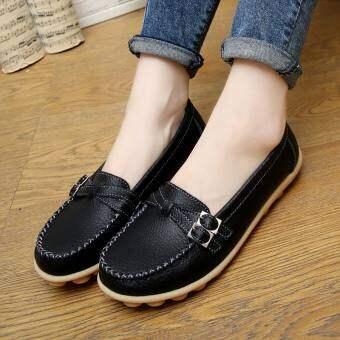 หนังฤดูใบไม้ผลิแบนรองเท้าแม่ (สีดำ (ฤดูหนาวผ้าฝ้ายเบาะ))