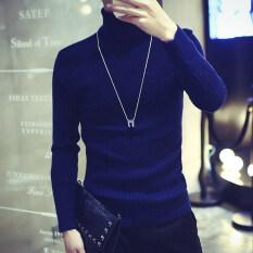 ราคา ผู้ชายเกาหลีสลิมเสื้อสวมหัวเสื้อกันหนาวเสื้อกันหนาวคอเต่า น้ำเงิน Unbranded Generic ฮ่องกง
