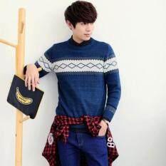 ขาย ซื้อ Winter เสื้อกันหนาวแขนยาวผู้ชายรอบคอ สีฟ้า ฮ่องกง