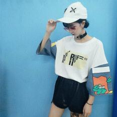 ขาย ซื้อ ฮาราจูกุเย็บการ์ตูนยีนส์ลมแขนสั้นเสื้อยืด สีขาว