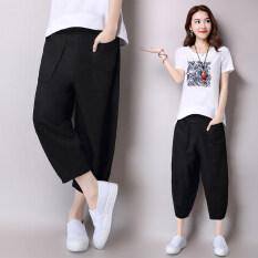 ขาย ผ้าลินินนางสาวฤดูใบไม้ผลิใหม่กางเกงกางเกงกางเกง สีดำ ถูก ใน ฮ่องกง