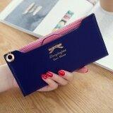 ขาย ซื้อ แพคเกจบัตรกระเป๋าสตางค์กระเป๋าสตางค์ใหม่เกาหลีหัวเข็มขัดของผู้หญิง สีน้ำเงินเข้ม ผีเสื้อ