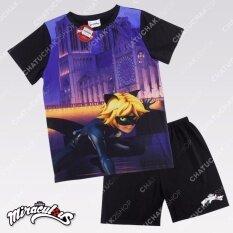 เสื้อยืด - กางเกง ลายการ์ตูน เลดี้บัค / Top & Shorts Set (Black) - Miraculous Ladybug