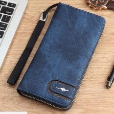 ทบทวน กระเป๋าสตางค์ ผู้ชาย กระเป๋าเงิน กระเป๋าตังแบบผ้า ทรงยาว สีน้ำเงิน