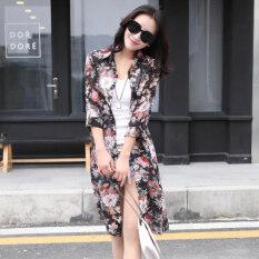 เสื้อซีฟองขนาดยาวปานกลาง ผ่าหน้า ผู้หญิง สีดำดอกไม้ สีดำดอกไม้ เป็นต้นฉบับ