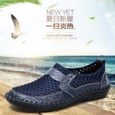 ขาย ขี้เกียจอุโมงค์ตาข่ายเหยียบฤดูร้อนรองเท้าตาข่ายหนังรองเท้า สีน้ำเงินเข้ม ถูก ใน ฮ่องกง