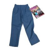 ขาย Duomifu กางเกงแบบลำลองสตรีผ้าลินินสไตล์เกาหลี เอวปรับได้ แลดูผอม สีฟ้า ถูก