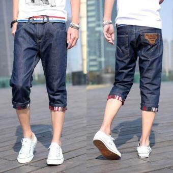 ฤดูร้อนขายส่งกางเกงขาสั้นของผู้ชายวัยรุ่นสลิมยีนส์กางเกง 7 ส่วนกางเกงสามส่วนผู้ชายสไตล์เกาหลีกางเกง 5 ส่วนน้ำ