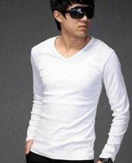 ขาย เสื้อยืดแขนยาวบุรุษผู้ชายสไตล์เกาหลี สีทึบแขนยาวสีขาวชิ้นเดียว Other เป็นต้นฉบับ