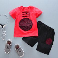 ราคา จีนลมย้อนยุคเด็กแขนสั้นกางเกงขาสั้นเสื้อยืด มังกรจีนสีแดง ใหม่ล่าสุด