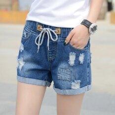 ซื้อ กางเกงขาสั้นผ้ายีนส์ มีสายยางยึดสไตล์เกาหลี 2017 น้ำเงิน Unbranded Generic