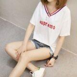 ทบทวน ฮาราจูกุเสื้อเกาหลีเสื้อยืดผู้หญิงแขนสั้นฤดูร้อนแขนสั้น สีขาว Other