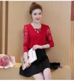 ซื้อ เสื้อชีฟองหญิง ทรงสั้น แขนยาว ผ้าลูกไม้ สีแดง สีแดง Other ออนไลน์