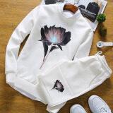 ขาย ซื้อ เกาหลีหนุ่มคอกลมเสื้อสวมหัวเสื้อกันหนาวที่เดินทางมาพักผ่อนกีฬาเสื้อ สีขาวชุด ฮ่องกง