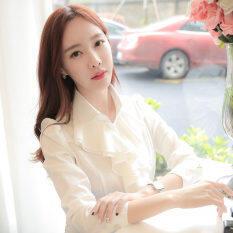 ขาย ซื้อ ออนไลน์ สีขาวเสื้อเกาหลีเสื้อเชิ้ตสีขาวเสื้อชีฟองหญิงลูกไม้ สีขาวปก