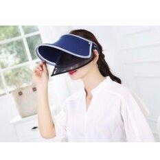 ขาย ซื้อ ออนไลน์ หมวกป้องกันแสงยูวี และแสงแดด ดับเบิล สกรีนสีน้ำเงิน