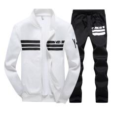 ซื้อ ชุดออกกำลังกาย ของผู้ชาย ไซส์ใหญ่สไตล์เกาหลีสีดำ ขาว สีน้ำเงินเข้ม สีขาว สีขาว Other