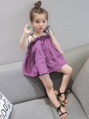 ซื้อ ทารกเกาหลีฤดูร้อนรุ่นสาวเล็กเทียมแฟชั่นชุดเดรส สีม่วง ถูก