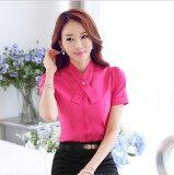 ส่วนลด ทำงานโหลดโปโลผ้าชีฟองแขนสั้นหญิงเสื้อ ดอกกุหลาบสีแดงคอ Unbranded Generic ใน ฮ่องกง