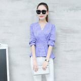 ขาย เสื้อเชิ้ตคอวีของผู้หญิงLeziqing สไตล์เกาหลี สีฟ้า สีฟ้า ใหม่